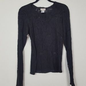 Anthropologie Neesh by DAR 》Cut Out Black Lace Top